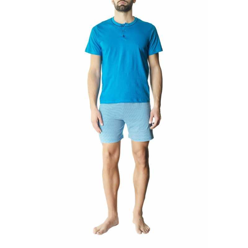 Мъжка пижама с долнище на райе