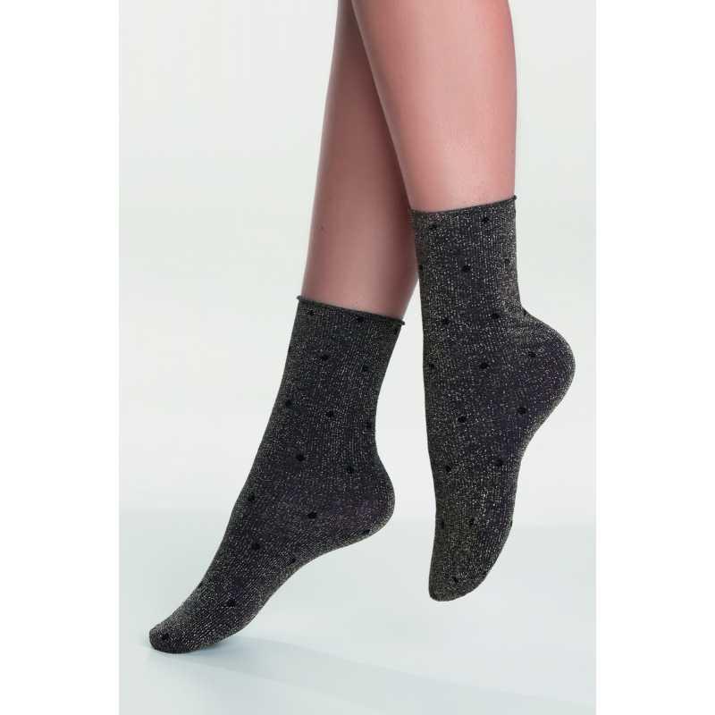 Дамски чорапи със златисти нишки