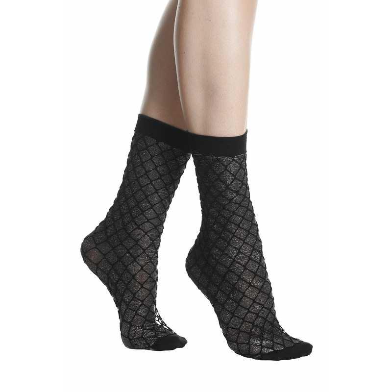 Къси чорапи мрежа със сребристи нишки