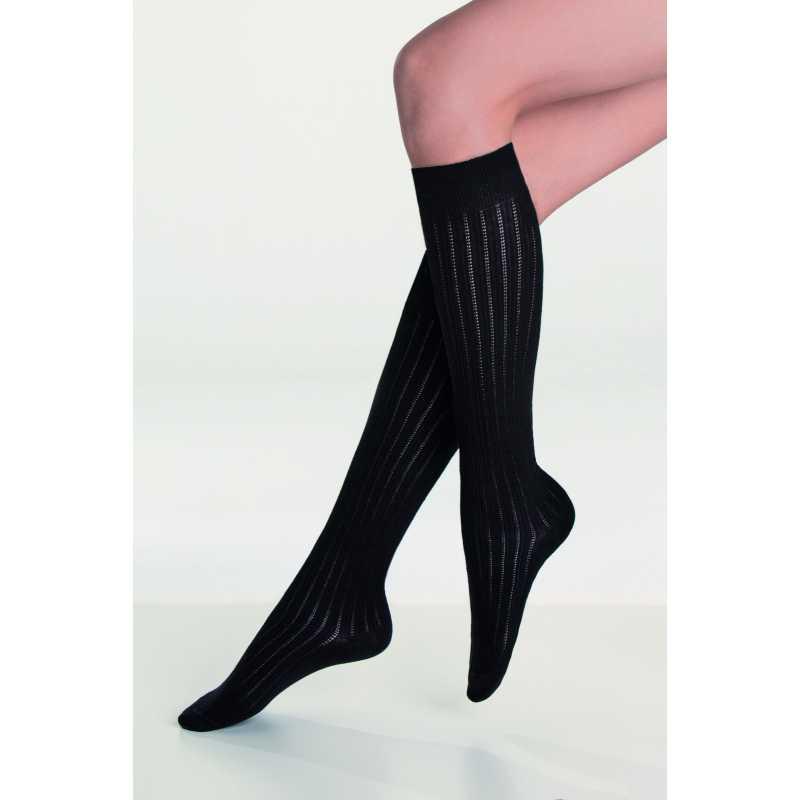 3/4 чорапи на райе в черно