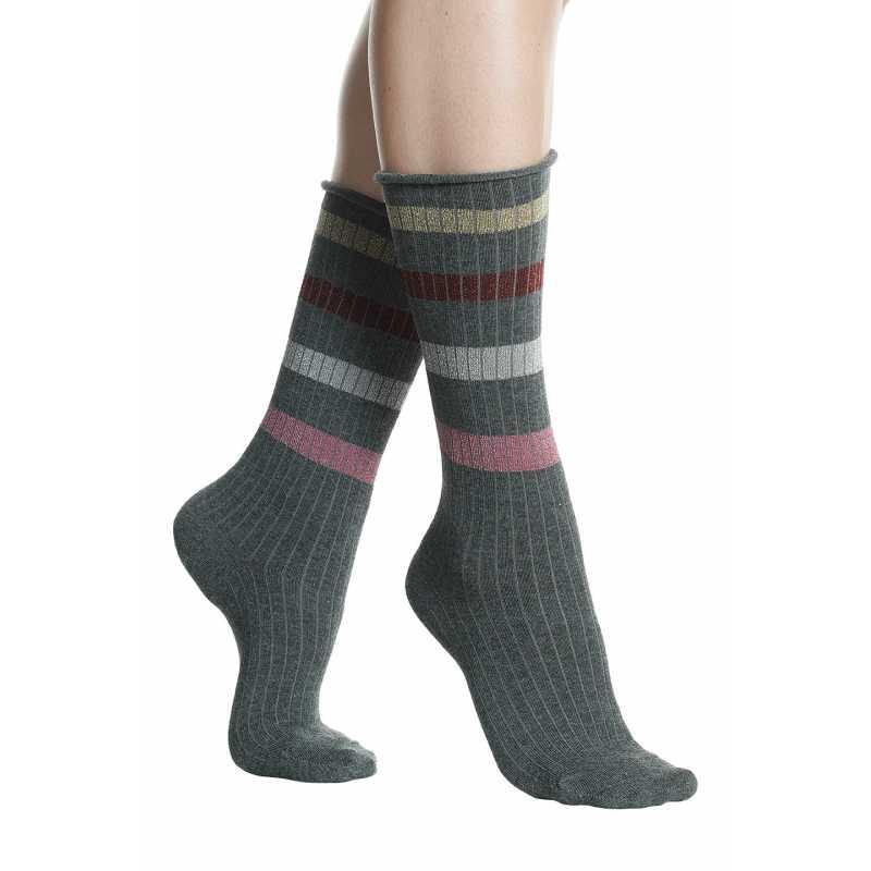 Дамски чорапи на цветно райе с лъскав акцент