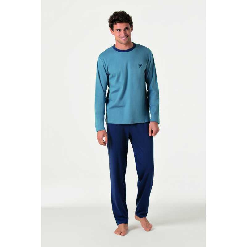 Изчистена мъжка пижама в синьо