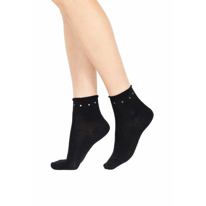 Къси черни чорапи с декорация