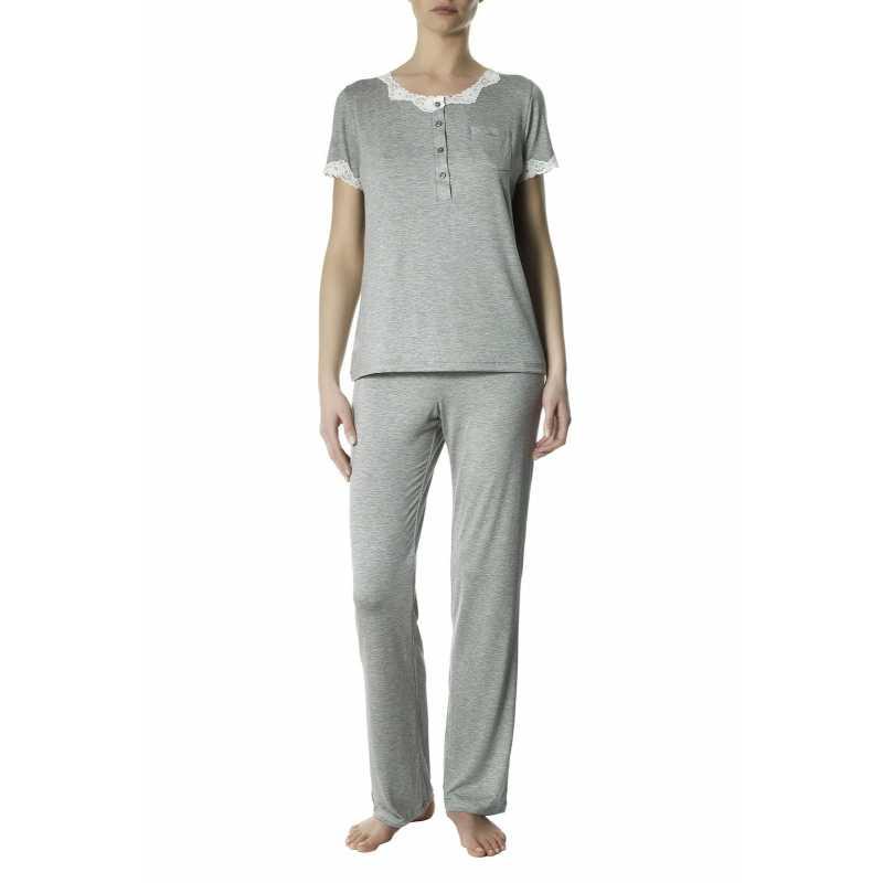 Дамска пижама от вискоза в сив меланж