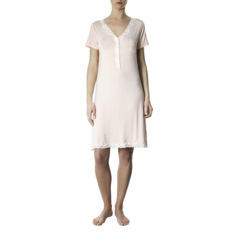 Nightdress Emma grey mèlange with lace