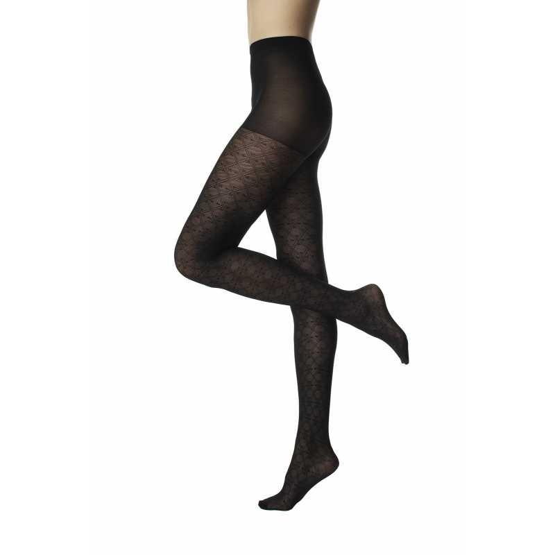 Фигурален черен чорапогащник