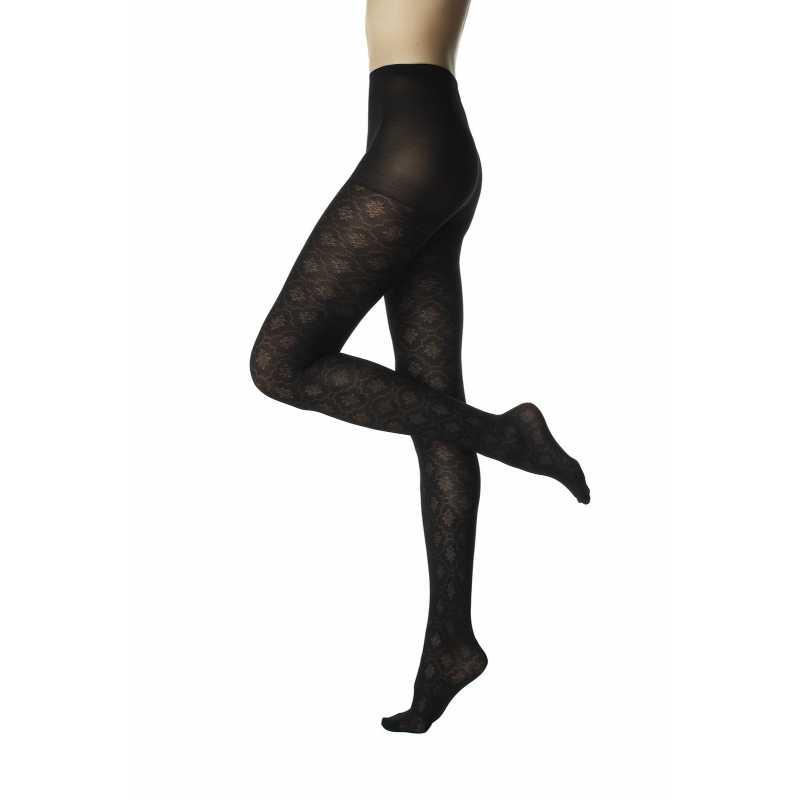 Фигурален черен чорапогащник на красиви орнаменти