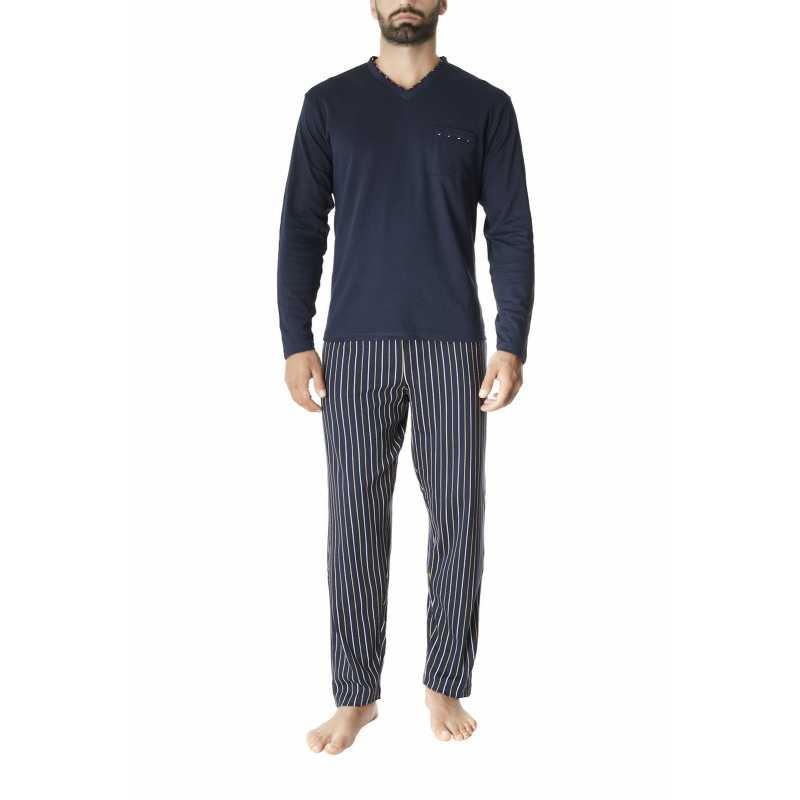 Мъжка зимна пижама в тъмно син цвят на райе