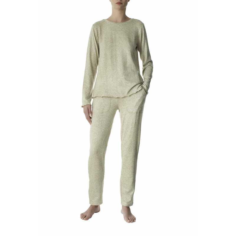 Дамска пижама от вискоза в бежов цвят