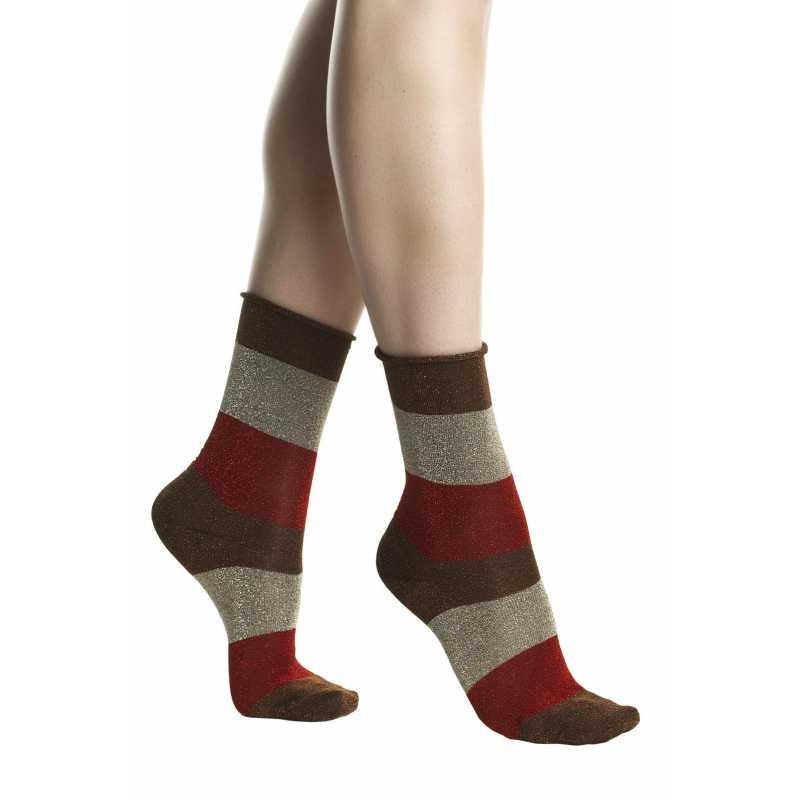Къси чорапи на райе с ламе