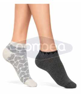 Къси дамски чорапи на сърца, 2 чифта в опаковка