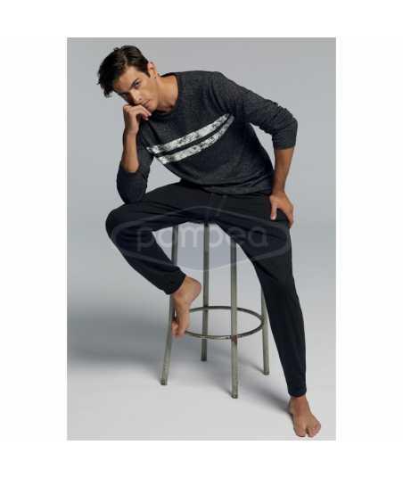 Мъжка пижама с дълъг ръкав в сиво