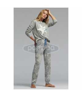 Дамска пижама интерлог със звездички и слончета