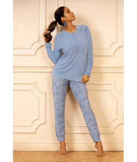 Дамска пижама с дълъг ръкав в небесно син нюанс