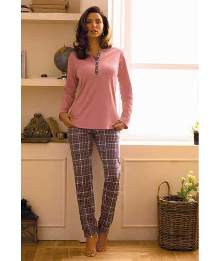 Дамска пижама от памук с дълъг ръкав в розово