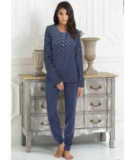 Дамска памучна пижама на точки