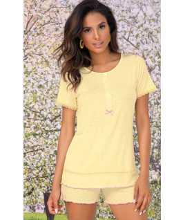Дамска лятна пижама от вискоза в жълт цвят