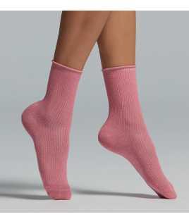 Rib cotton socks with lame