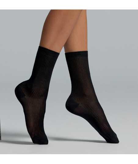 Viscose rib socks in black