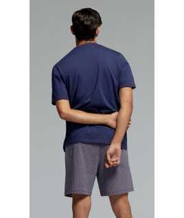 Мъжка памучна пижама с къс ръкав и късо долнище