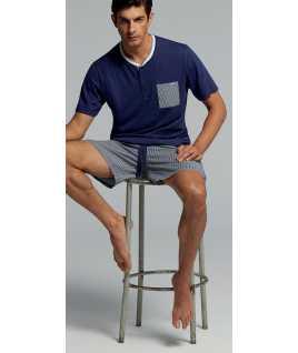 Мъжка памучна пижама с къс ръкав