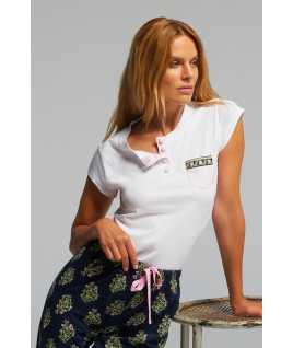 Дамска памучна пижама с къс ръкав и дълго долнище