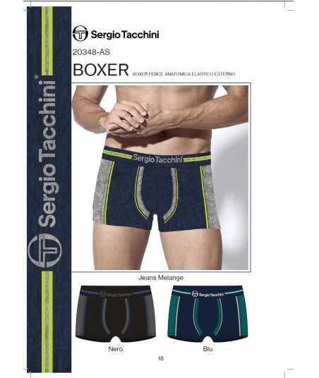 Мъжки памучен боксер с открит цветен ластик